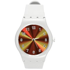 Copper Beams Abstract Background Pattern Round Plastic Sport Watch (M)