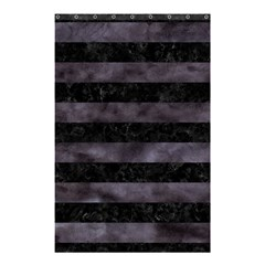 Stripes2 Black Marble & Black Watercolor Shower Curtain 48  X 72  (small)