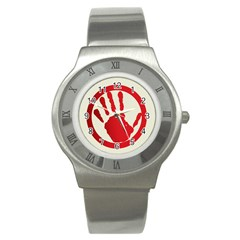 Bloody Handprint Stop Emob Sign Red Circle Stainless Steel Watch