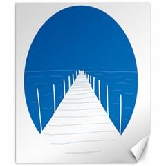 Bridge Sea Beack Blue White Canvas 8  X 10