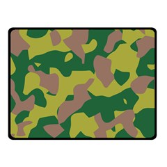 Camouflage Green Yellow Brown Double Sided Fleece Blanket (small)