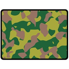 Camouflage Green Yellow Brown Double Sided Fleece Blanket (large)