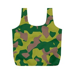 Camouflage Green Yellow Brown Full Print Recycle Bags (m)