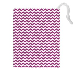 Chevron Wave Purple White Drawstring Pouches (xxl)