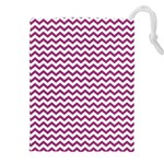 Chevron Wave Purple White Drawstring Pouches (XXL) Front