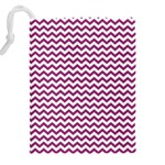 Chevron Wave Purple White Drawstring Pouches (XXL) Back