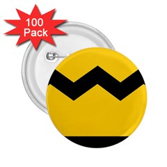 Chevron Wave Yellow Black Line 2 25  Buttons (100 Pack)
