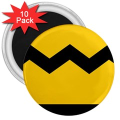 Chevron Wave Yellow Black Line 3  Magnets (10 Pack)