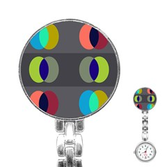 Circles Line Color Rainbow Green Orange Red Blue Stainless Steel Nurses Watch