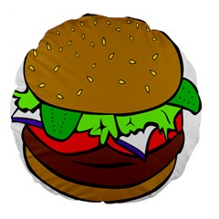 Fast Food Lunch Dinner Hamburger Cheese Vegetables Bread Large 18  Premium Flano Round Cushions