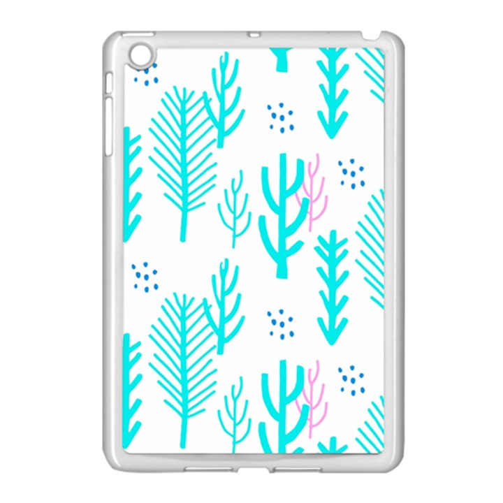 Forest Drop Blue Pink Polka Circle Apple iPad Mini Case (White)