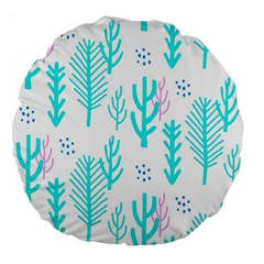 Forest Drop Blue Pink Polka Circle Large 18  Premium Flano Round Cushions