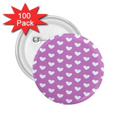 Heart Love Valentine White Purple Card 2 25  Buttons (100 Pack)