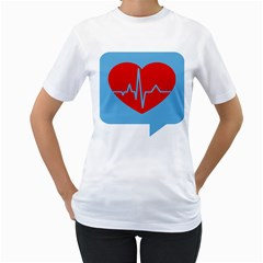 Heartbeat Health Heart Sign Red Blue Women s T-Shirt (White) (Two Sided)
