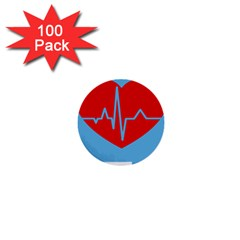 Heartbeat Health Heart Sign Red Blue 1  Mini Buttons (100 pack)