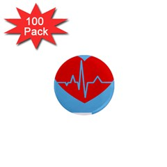 Heartbeat Health Heart Sign Red Blue 1  Mini Magnets (100 pack)