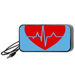 Heartbeat Health Heart Sign Red Blue Portable Speaker (black)
