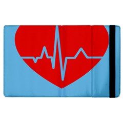 Heartbeat Health Heart Sign Red Blue Apple Ipad 3/4 Flip Case