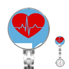 Heartbeat Health Heart Sign Red Blue Stainless Steel Nurses Watch