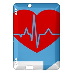 Heartbeat Health Heart Sign Red Blue Kindle Fire Hdx Hardshell Case