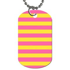 Horizontal Pink Yellow Line Dog Tag (Two Sides)