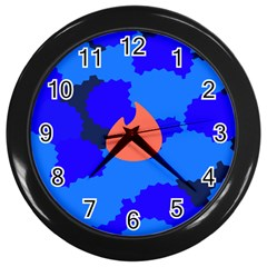 Image Orange Blue Sign Black Spot Polka Wall Clocks (Black)