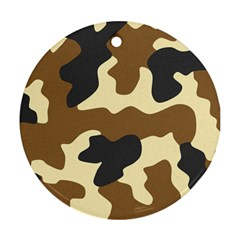 Initial Camouflage Camo Netting Brown Black Ornament (round)
