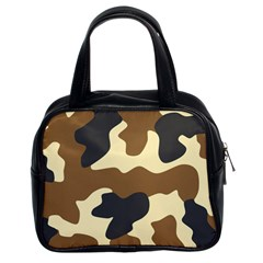 Initial Camouflage Camo Netting Brown Black Classic Handbags (2 Sides)