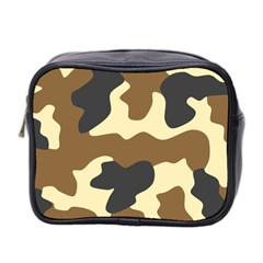 Initial Camouflage Camo Netting Brown Black Mini Toiletries Bag 2-Side