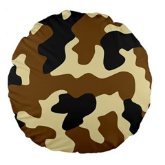 Initial Camouflage Camo Netting Brown Black Large 18  Premium Flano Round Cushions