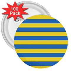 Horizontal Blue Yellow Line 3  Buttons (100 pack)