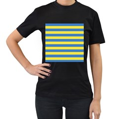 Horizontal Blue Yellow Line Women s T-Shirt (Black) (Two Sided)