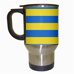 Horizontal Blue Yellow Line Travel Mugs (White)