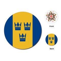 King Queen Crown Blue Yellow Playing Cards (Round)
