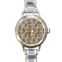 Initial Camouflage Brown Round Italian Charm Watch