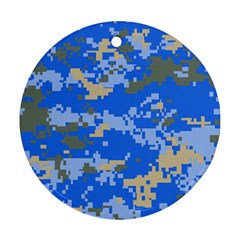 Oceanic Camouflage Blue Grey Map Ornament (Round)