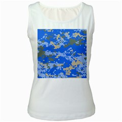 Oceanic Camouflage Blue Grey Map Women s White Tank Top