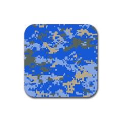 Oceanic Camouflage Blue Grey Map Rubber Coaster (Square)