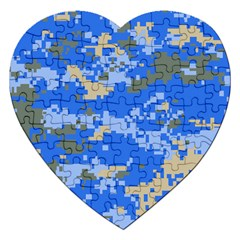 Oceanic Camouflage Blue Grey Map Jigsaw Puzzle (Heart)