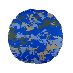 Oceanic Camouflage Blue Grey Map Standard 15  Premium Flano Round Cushions