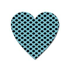 Polka Dot Blue Black Heart Magnet