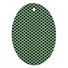Polka Dot Green Black Ornament (Oval)