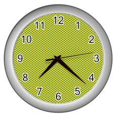 Polka Dot Green Yellow Wall Clocks (Silver)