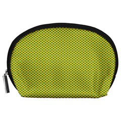 Polka Dot Green Yellow Accessory Pouches (large)