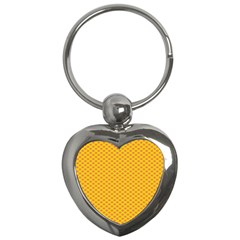 Polka Dot Orange Yellow Key Chains (Heart)