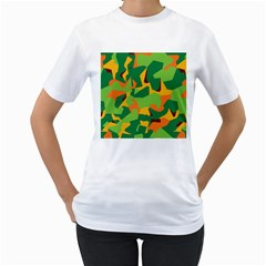 Initial Camouflage Green Orange Yellow Women s T-Shirt (White) (Two Sided)