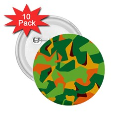 Initial Camouflage Green Orange Yellow 2.25  Buttons (10 pack)