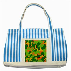Initial Camouflage Green Orange Yellow Striped Blue Tote Bag