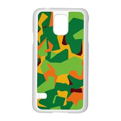 Initial Camouflage Green Orange Yellow Samsung Galaxy S5 Case (white)