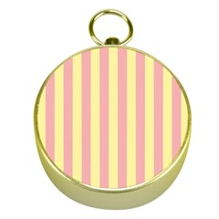 Pink Yellow Stripes Line Gold Compasses